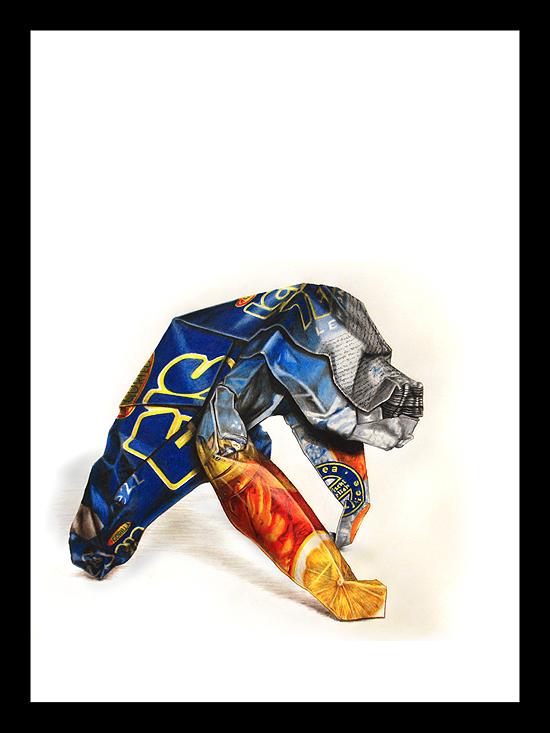 Papierkrieger I - Eine Farbstiftzeichnung von Markus Agerer