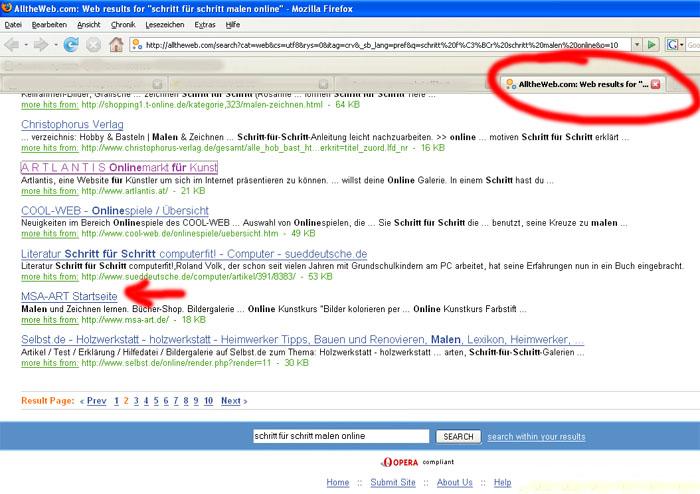 Screenshot der Suchergebnisse