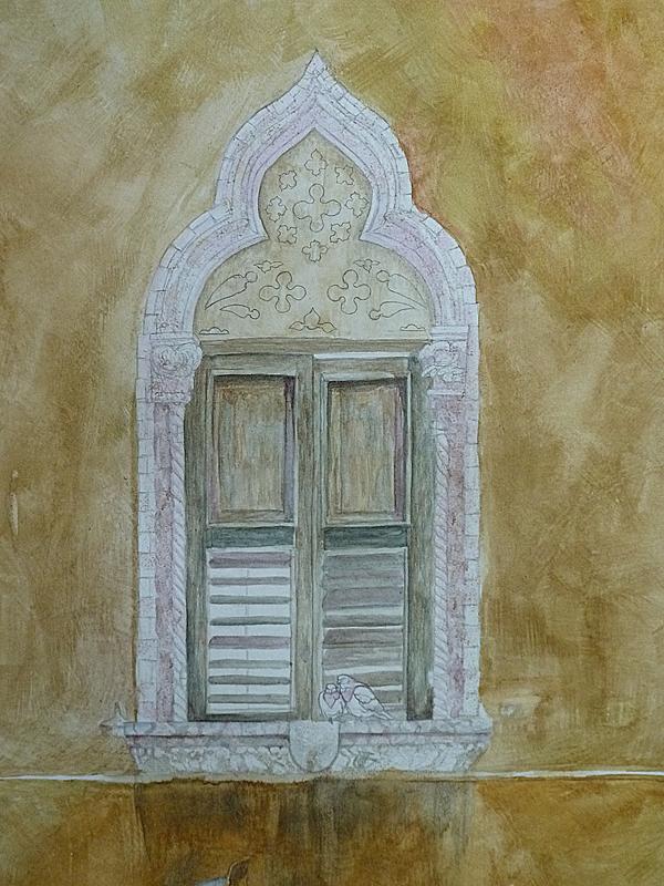 Alt wirkende architektur mit aquarellfarben malen for Architektur aquarell