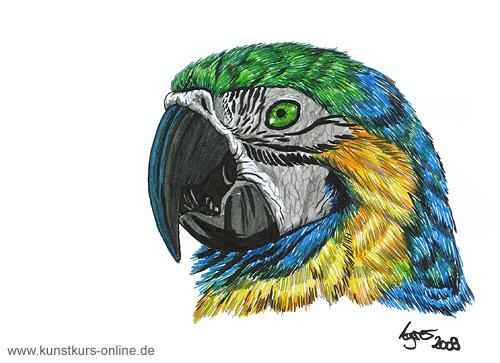 Gemälde Papagei