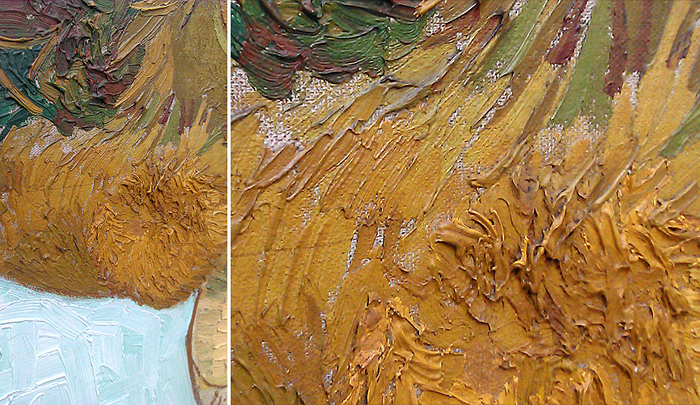 Sonnenblumen-Gemälde van Gogh Malweise