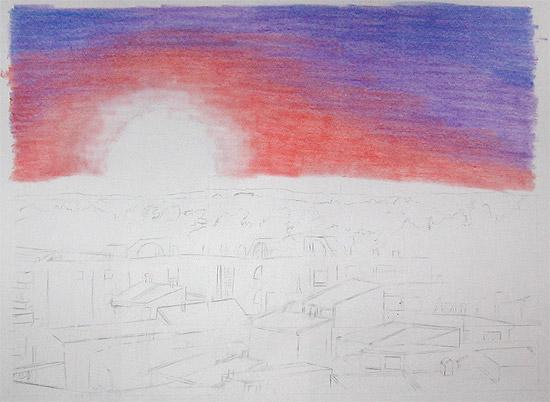 Sonnenuntergang mit Pastell malen