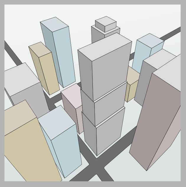 Stadtbild mit Hochhäusern in einer Dreipunktperspektive