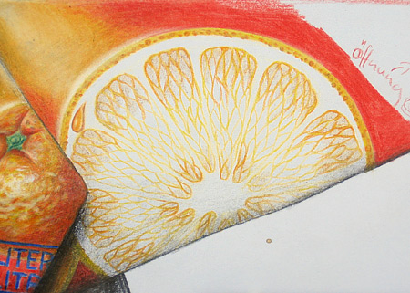 Orange zeichnen mit Farbstifte